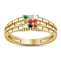 Solid Sterling Silver Jewelry Men's Navratna Ring In 14k Yellow Gold Finish - $92.99