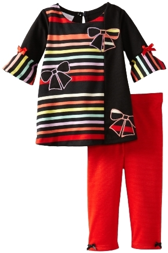 Bonnie Baby Baby Girls' Stripe and Solid Legging Set, Red, 24 Months [Apparel]