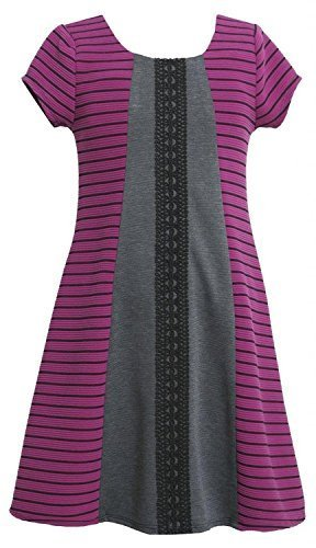 Bonnie Jean Little Girls 4-6X Purple Black Texture Stripe Colorblock Knit Dre...