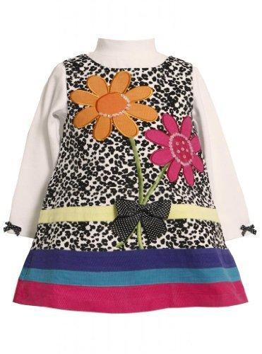 Spotted Sequin Flower Bouquet Corduroy Jumper Dress BW1ET,Bonnie Jean Baby-In...
