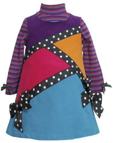 Purple Multi Geometric Colorblock Corduroy Jumper Dress PU2FR,Bonnie Jean Tod...