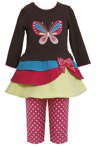 Tiered Colorblock Butterfly Applique Dress/Legging set BR2FR,Bonnie Jean Todd...