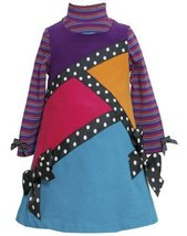 Purple Multi Geometric Colorblock Corduroy Jumper Dress PU3FR,Bonnie Jean Lit...