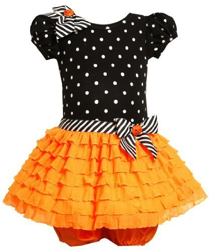 Bonnie Baby Baby-Girls Infant Black Neon Orange Eyelash Ruffle Halloween Dres...