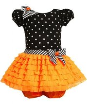 Orange Black Dotted Knit to Glitter Eyelash Ruffle Dress OR1MT, Bonnie Jean B...