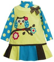 'Owl-On-Branch' Applique Corduroy Jumper Dress LI2FR,Bonnie Jean Todders Spec...