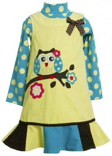 'Owl-On-Branch' Applique Corduroy Jumper Dress LI3FR,Bonnie Jean Little Girls...