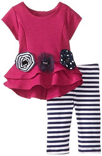 Bonnie Baby Baby-Girls 3M-24M Heart Back High Low Hem Legging Set (0-3 Months...