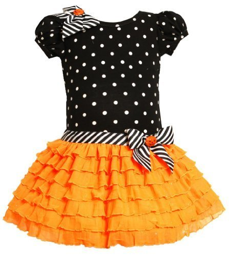 Bonnie Jean Girls Halloween Pumpkin Knit Glittering Mesh Dress, Orange, 2T