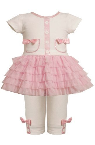 Glitter Screen Print Pocket Tutu Dress/Legging Set PK0SI,Bonnie Jean Baby-New...