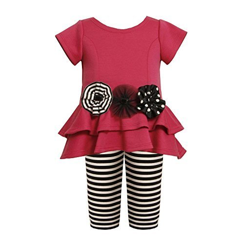 Tiered High-Low Cut Out Heart Dress/Legging Set FU0NN,Bonnie Jean Baby-Newbor...