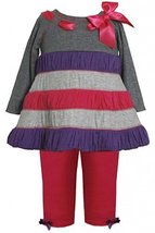Fuchsia Grey Glitter Colorblock Dress / Legging Set FU0CH, Bonnie Jean Baby-N...