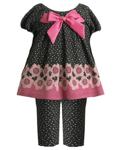Size-24M BNJ-0885B 2-Piece Black and Pink Floral Border Pin Dot Fuzzy Knit Dr...