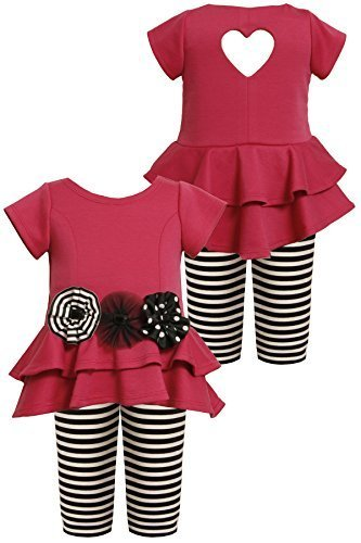 Bonnie Baby Baby-Girls Infant FUCHSIA Heart Back Legging Set FU1MH, Fuchsia