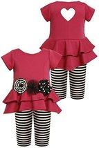 Bonnie Baby Baby-Girls Infant FUCHSIA Heart Back Legging Set FU1MH, Fuchsia