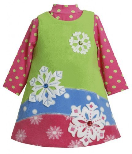 Colorblock Jewel-Snowflake Fleece Jumper Dress Set LM0SABonnie Jean Baby-Newb...
