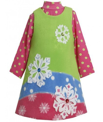 Colorblock Jewel-Snowflake Fleece Jumper Dress Set LM3BUBonnie Jean Little Gi...