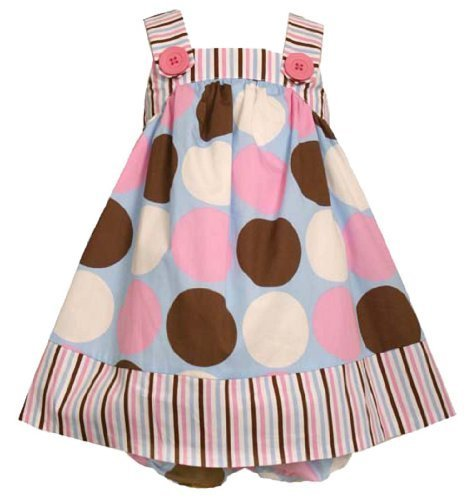 Size-3/6M BNJ-0893-M 2-Piece Pink/Blue/Brown/White Multi Dots and Stripes Wov...