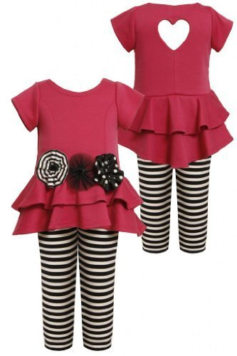 Bonnie Jean Little-Girls 2T-6X Tiered High-Low Cut Out Heart Dress/Legging Se...