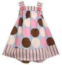 Size-6/9M BNJ-0893-M 2-Piece Pink/Blue/Brown/White Multi Dots and Stripes Wov...