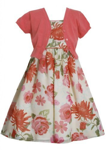 Coral Floral Print Chiffon Dress/Jacket Set CO3SA, Coral, Bonnie Jean Little ...