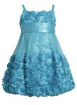 Turquoise Blue Die Cut Bonaz Rosette Mesh Bubble Dress TU3NA, Turquoise, Bonn...