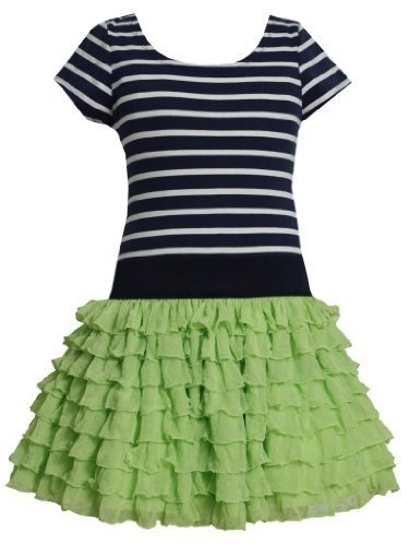 Green Blue Stripe Knit to Tier Eyelash Ruffle Dress GR3SA, Green, Bonnie Jean...