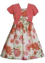Coral Floral Print Chiffon Dress/Jacket Set CO3SP, Coral, Bonnie Jean Little ...