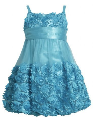 Turquoise Blue Die Cut Bonaz Rosette Mesh Bubble Dress TU3SA, Turquoise, Bonn...