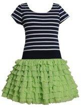 Green Blue Stripe Knit to Tier Eyelash Ruffle Dress GR3SP, Green, Bonnie Jean...