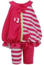 Fuchsia Solid Stripe Flower Strem Applique Dress/Legging Set FU0BA, Fuchsia, ...