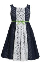 Navy-Blue White Colorblock Lace Overlay Dress NV3SA, Navy, Bonnie Jean Little...