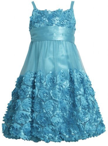 Bonnie Jean Big Girls Tween Turquoise Blue Die Cut Bonaz Rosette Bubble Dress...