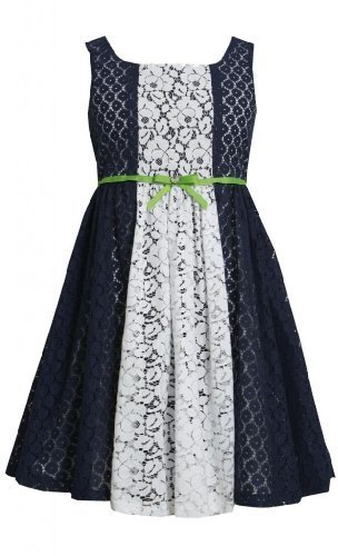 Navy-Blue White Colorblock Lace Overlay Dress NV3SP, Navy, Bonnie Jean Little...