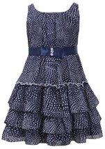 Navy-Blue and White Dot Print Tiered Chiffon Dress NV3BU, Navy, Bonnie Jean L...