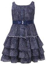 Navy-Blue and White Dot Print Tiered Chiffon Dress NV3NA, Navy, Bonnie Jean L...
