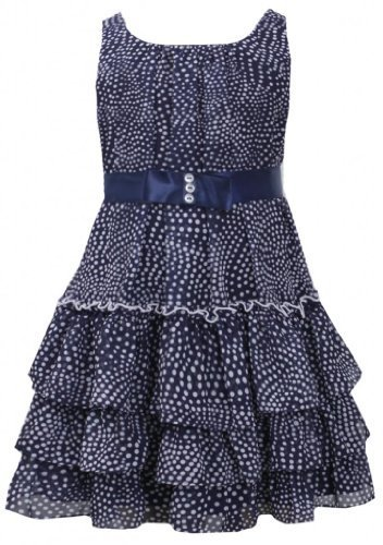 Navy-Blue and White Dot Print Tiered Chiffon Dress NV3SA, Navy, Bonnie Jean L...