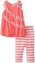 Bonnie Baby Baby Girls' Bubble Top with Chiffon Trim and Stripe Capri, Coral,...