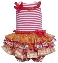 Fuchsia-Pink Stripe Knit to Mix Print Sparkle Tier Dress FU1HB, Fuchsia, Bonn...