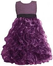 Purple Metallic Knit to Vertical Organza Ruffles Dress PU4MH Bonnie Jean Twee...