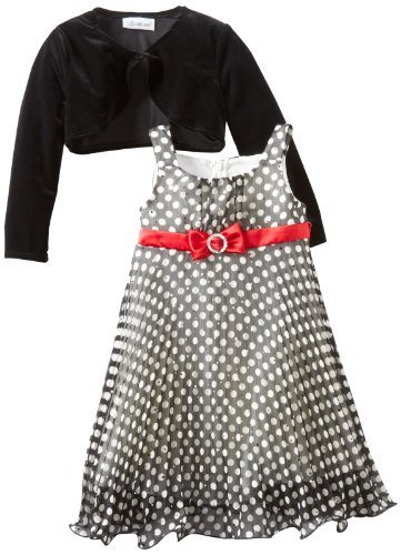 Bonnie Jean Little Girls' Chiffon Dress with Stretch Velvet Cardigan, Black/W...