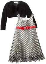 Bonnie Jean Little Girls' Chiffon Dress with Stretch Velvet Cardigan, Black/W...