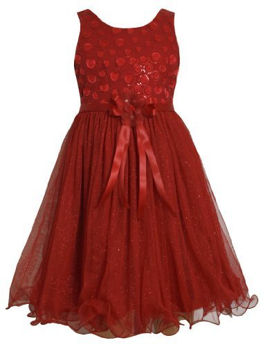 Red Sequin Embellished to Glittered Mesh Overlay Dress RD4TABonnie Jean Tween...
