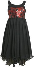 Black Red Sequin and Chiffon Hi-Lo Wire Hem Dress BK4MH Bonnie Jean Tween Gir...