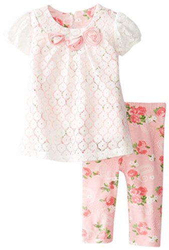 Bonnie Baby-Girls Newborn White Lace and Print Pant Set, Pink, 0-3 Months