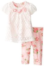 Bonnie Baby-Girls Newborn White Lace and Print Pant Set, Pink, 3-6 Months