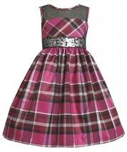 Illusion Neckline Sequin Waistline Metallic Plaid Dress FU3NA Bonnie Jean Lit...