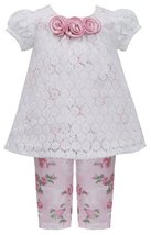 Baby Girls 3M-24M Pink Ivory Lace Over Rose Floral Knit Top/Legging Set (18 M...