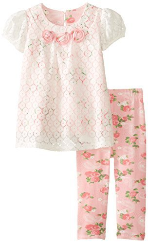 Bonnie Baby Baby Girls' Lace and Print Legging Set, Pink, 18 Months [Apparel]
