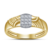 18k Yellow Gold Finish Simulated Round Diamond Men's Engagement Nine Stone Ring - £52.66 GBP